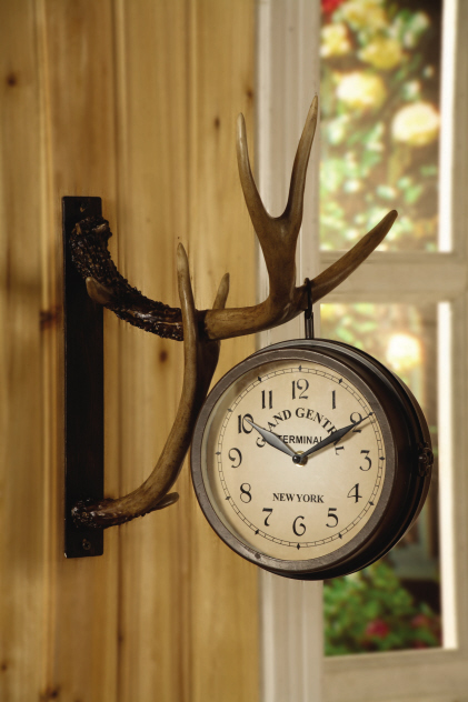 Deer park double sided metal clock hangs on resin wall mounted antlers - Wall mounted grandfather clock ...