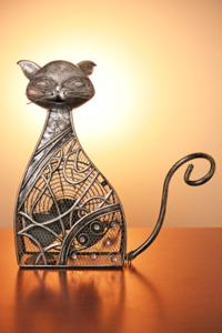 Pewter Sitting Cat Fan
