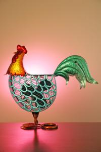 Metal Rooster Figurine Fan