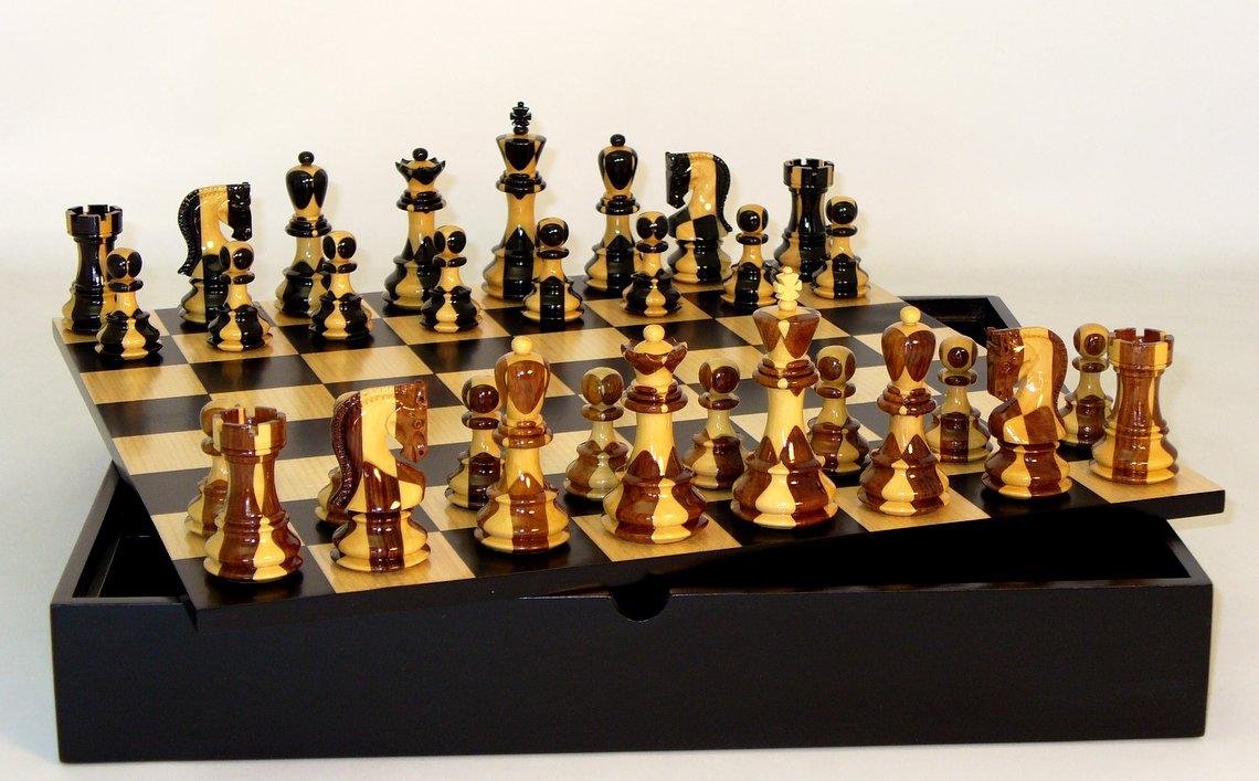 Inlaid Russian On Black Maple Chest Chess Set Wood