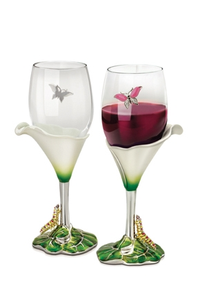 Calla Lily Wine Glasses Two Piece Set Decorative Wine