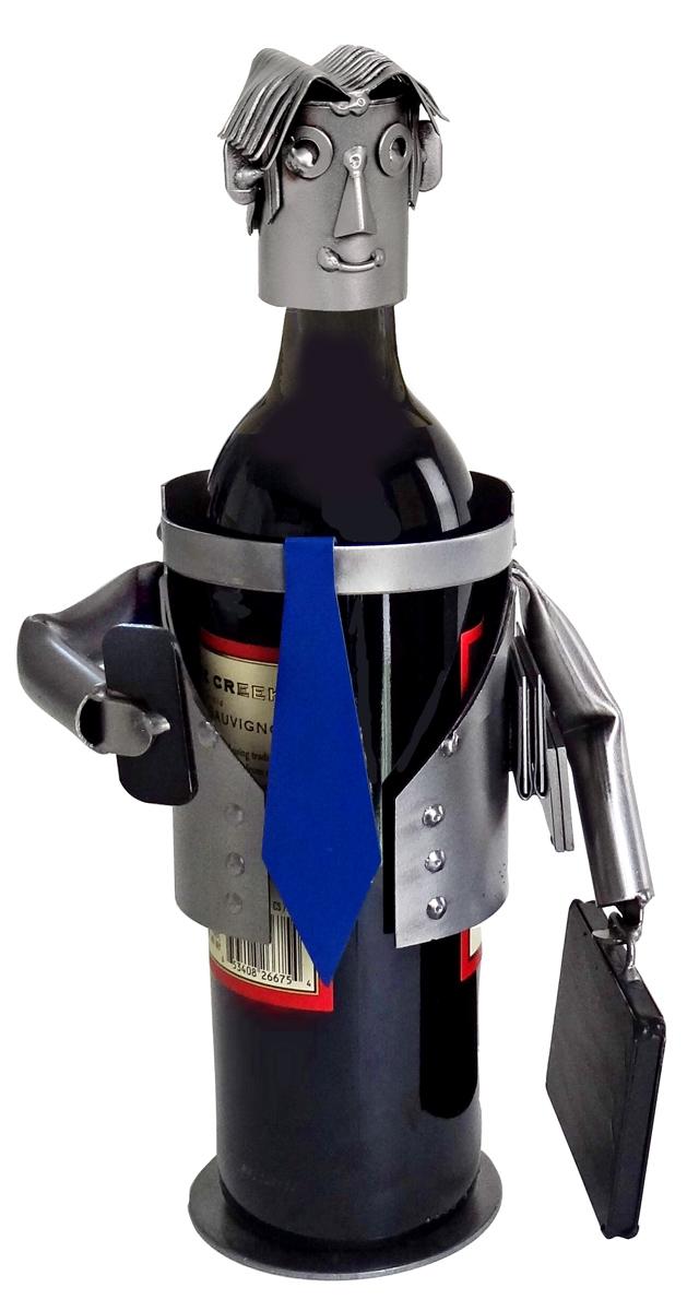 Businessman Metal Wine Bottle Holder