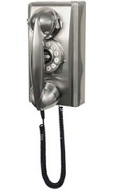 Brushed Chrome Wall Old Fashioned Phone Antique Wall
