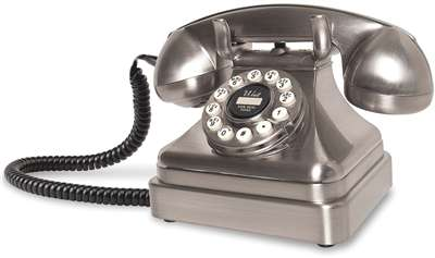 Brushed Chrome Classic Kettle Desk Old Fashioned Phone
