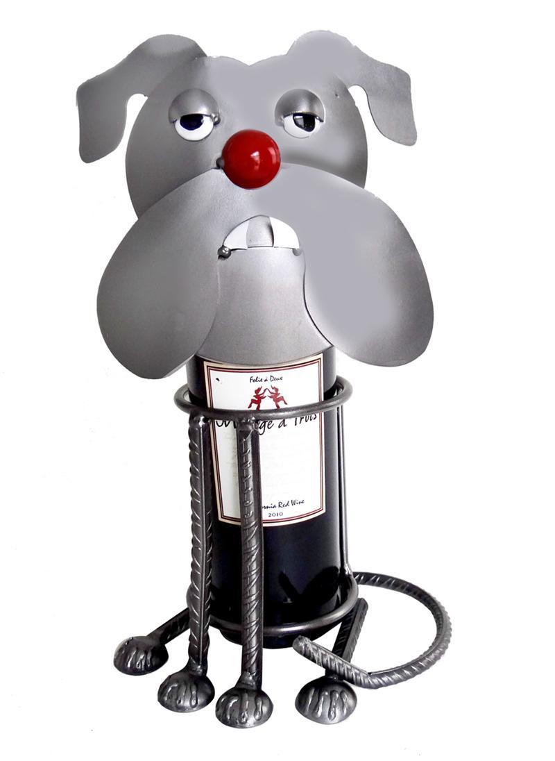 Bulldog Metal Wine Bottle Holder