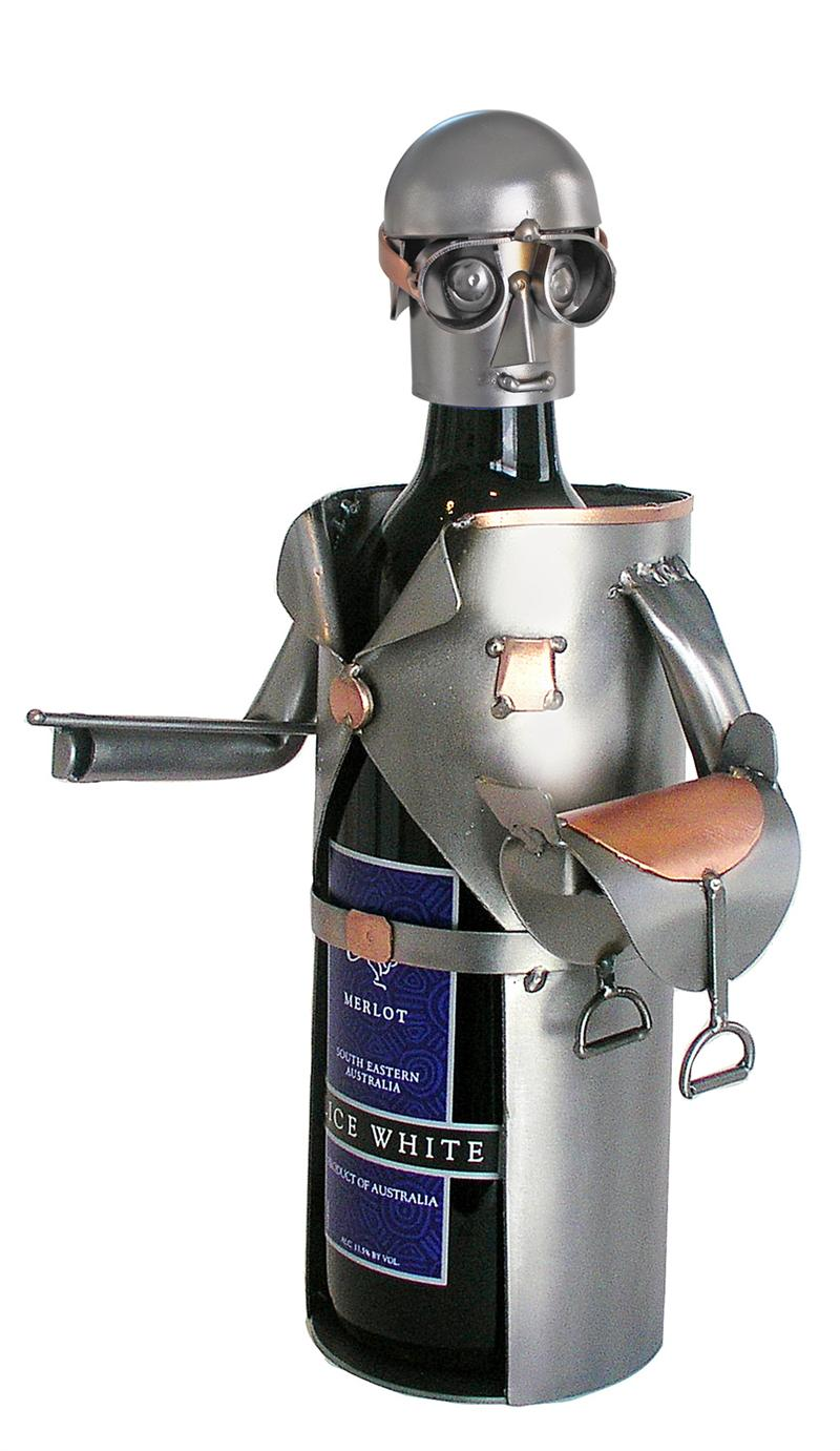 Male Equestrian Metal Wine Bottle Holder