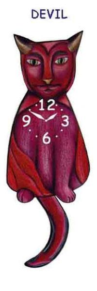 Devil Cat Wagging Tail Clock
