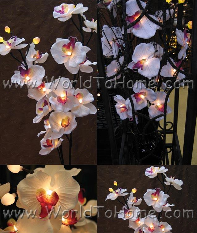 White Orchid Branch Light Lighted Branches