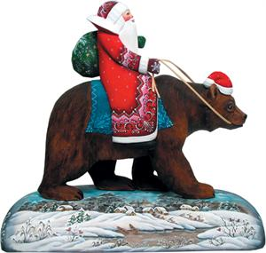 Grizzly Bear Carved Santa G DeBrekht Hand Painted & Carved Wooden Figurines