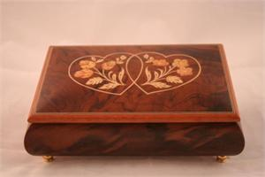 Brown Small Music Box with Double Heart Design (Style 70) Music Boxes