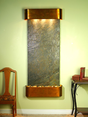 Inspiration Falls Collection Rustic Copper w/ Indian Green Slate Wall Fountains