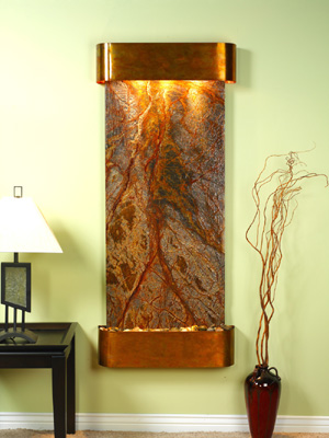 Inspiration Falls Collection Rustic Copper w/ Brown Rainforest Marble Wall Fountains