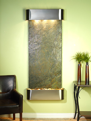 Inspiration Falls Collection Stainless Steel w/ Indian Green Slate Wall Fountains