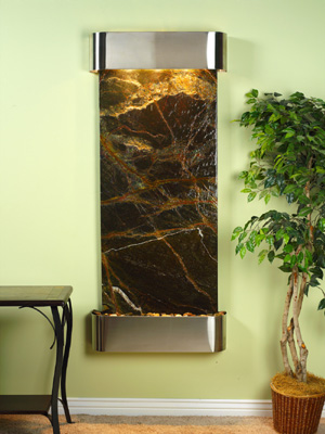 Inspiration Falls Collection Stainless Steel w/ Green Rainforest Marble Wall Fountains