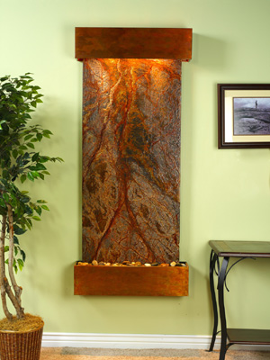Inspiration Falls Collection Square Cornered Rustic Copper w/ Brown Rainforest Marble Wall Fountains