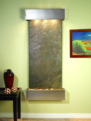 Inspiration Falls Collection Square Cornered Stainless Steel w/ Indian Green Slate Wall Fountains