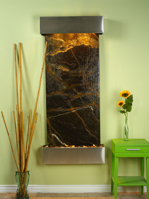 Inspiration Falls Collection Square Cornered Stainless Steel w/ Green Rainforest Marble Wall Fountains