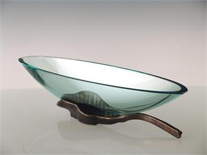 Long Oval Leaf Bowl Glass Bowl Art