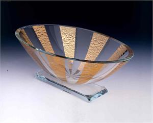 Gold Renaissance Oval Bowl Glass Bowl Art