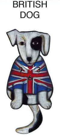 British Dog With Wagging Tail Clock