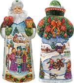 Holiday in Harmony Carved Santa G DeBrekht Hand Painted & Carved Wooden Figurines