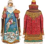 Christmas Goose Carved Santa G DeBrekht Hand Painted & Carved Wooden Figurines