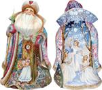 To the Land of Snow Carved Santa G DeBrekht Hand Painted & Carved Wooden Figurines