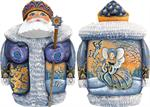 Regal Butterfly Carved Santa G DeBrekht Hand Painted & Carved Wooden Figurines