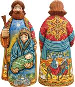 Holy Family G DeBrekht Hand Painted & Carved Wooden Figurines