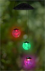 Anywhere 3-Crackle Glass Ball Light w/Changing LED Lights Indoor/Outdoor LED Hanging Lights