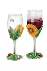 Sunflower Wine Glasses - Two Piece Set Decorative Wine Bottle Caddy Holders
