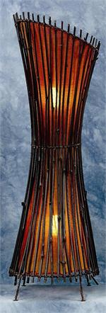 Orange Tanha (Medium) Bamboo Floor Lamp Inverted Design Lamps
