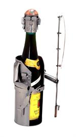 Fisherman Wine Bottle Holder Sport Metal Wine Sculptures