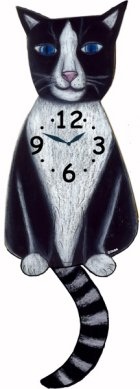 Tux Cat Clock with Wagging Tail Wagging Tail Cat Clocks